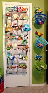 Cheap storage idea to keep toys off the floor. Love the hanging baskets. Stuffed  Animal StorageOrganizing ...