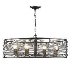 bijoux 8 light brushed etruscan bronze chandelier with light shade