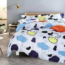 sheep sheets 4pcs boys kids king queen black and white cow sheep bedding sets bed