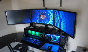 modern black corner gaming computer desk plus beige