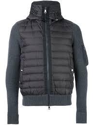 moncler hooded puffer jacket grey men popular