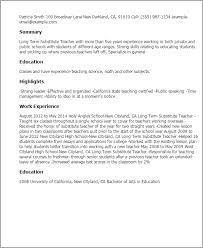 Resume Templates: Long Term Substitute Teacher
