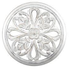 fetco tino white round wooden medallion wall art