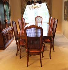 thomasville dining room set with cane back chairs