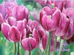 Pretty in <b>Pink Big</b> Tulip <b>Flower</b> painting oil on canvas, Anita Nowinska