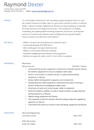 Resume Templates For Word Electrician Cv Example And Template Cv