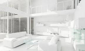 White Interior 3D Clay Render Of A Modern Interior Design Stock Photo,  Picture