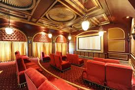 Exotic Nuance Movie Theatre In Dream Home With Round Rug On The - Bill gates interior house