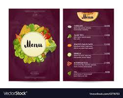 Food Menu Design Vegan Cafe Food Menu Design Royalty Free Vector Image