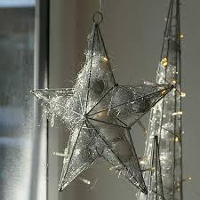 Weihnachtsstern Silber Draht ø30 Cm Fensterstern 20 Led Beleuchtet