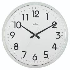 acctim chrome white orion silent sweep wall clock 320mm 21287