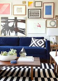 mid century modern living room with stockholm rug