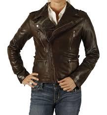 sl132955 las antique brown cross zip leather biker jacket