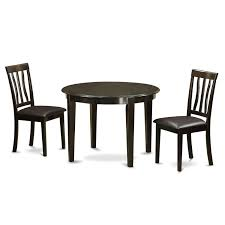 East West Furniture Boston 3 Piece Kitchen Table Set Round Table