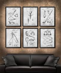 set of 6 golf vintage patent illustration art print or canvas wall art decor on golf wall art near me with i found this vintage wood shaft golf club and knew i wanted to do