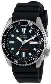 seiko men s skx173 stainless steel and black polyurethane seiko men s skx173 stainless steel and black polyurethane automatic dive watch seiko amazon co uk watches