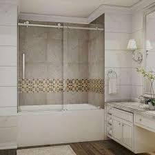 completely frameless sliding tub door in stainless steel