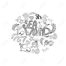 Immagini Stock Insieme Disegnato A Mano Con Animali Marini