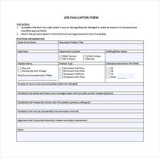 evaluation form templates job evaluation form under fontanacountryinn com