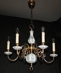 a vintage flemish delft chandelier blue white ceramic ceiling light