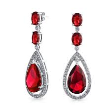 bling jewelry color cz silver oval teardrop chandelier earrings 2 5in