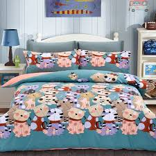 slate blue c pink and colorful cat print farm animal themed hipster kids boys girls full queen size bedding sets