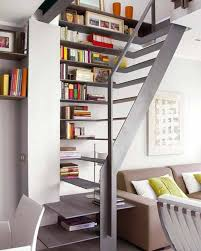 Accessories: Stylish Galery Art And Bookshelves In Under Stairs -  Booksheleves
