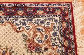 ivory modern persian silk isfahan runner rug 49403 corner nazmiyal