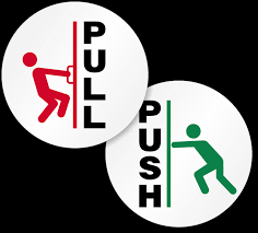 2 sided pull push glass decal signs