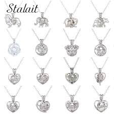 Luxury Fresh Pearl Wolf Heart Hollow Elephant Necklace Dog Life Of Tree  Silver Color Chain Necklace For Women Girl Gifts|Pendant Necklaces| -  AliExpress