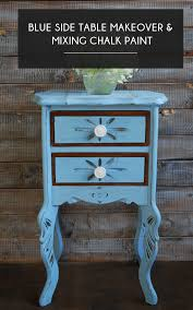 blue side table makeover mixing chalk
