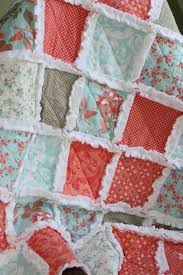 17 Best images about Quilt ideas on Pinterest | Quilt, Prince ... & Baby Girl Rag Quilt Coral Gray Aqua Nursery Ready to Ship Adamdwight.com
