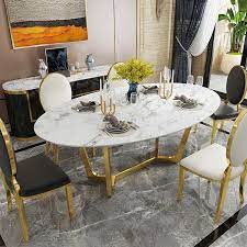oval dining table white faux marble