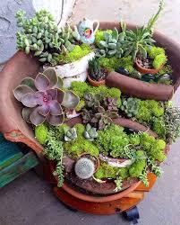 broken pot fairy garden 19