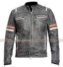 men s cafe racer retro distressed leather jacket