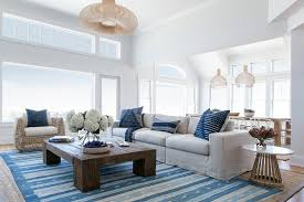 blue striped rug on gray bound sisal rug