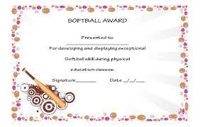 39 Free Softball Award Certificates Templates Ideas And