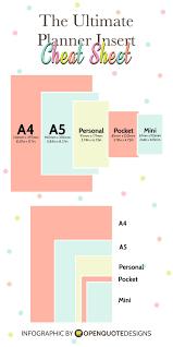 Infographic Planner Insert Sizes Chart Planner Inserts