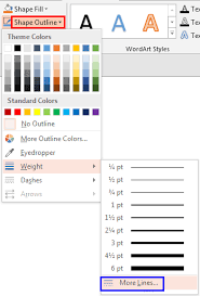 shape outline drop down gallery