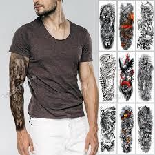 большой рукав татуировки эскиз льва тигр водонепроницаемый временные татуировки