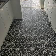 black and white victorian tile effect vinyl flooring nostalgia 10
