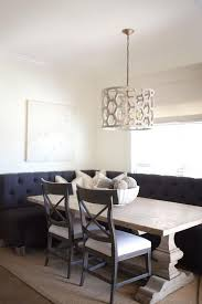 breakfast nook lighting ideas. chic breakfast nook features a l shaped black tufted banquette facing reclaimed wood trestle lighting ideas p