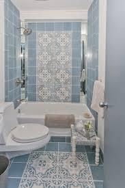 beautiful minimalist blue tile pattern bathroom decor