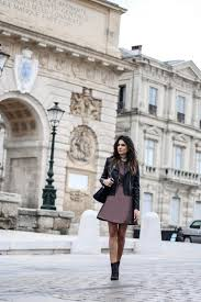 federica l has paired a leather jacket with this gorgeous mini dress to enhance the