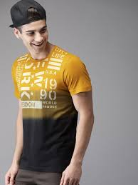 Yellow And Black T Shirt Designs Buy Here Now Men Mustard Yellow Black Printed Round Neck T
