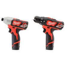 milwaukee impact drill. milwaukee 2497-22 m12 12v cordless lithium-ion 3-8 in. hammer drill and impact driver combo kit w