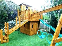 kid playhouse with slide kids outdoor wooden