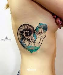 татуировка ракушка с девушкойрусалка с ракушкой татуировкиэскизы