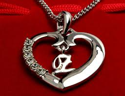 initial necklace letter z 18k white gold plated
