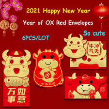 Garry is so excited to see the new year happen and you're all here to join him in it!! 6 Pcs Lot Red Envelopes For The Year Of The Ox Cartoon New Year Cash Gif Tbo Ebay